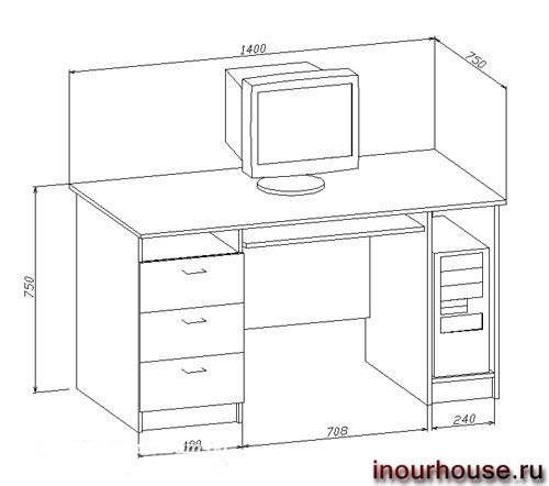 Эскизы и чертежи компьютерных столов в нашем доме.