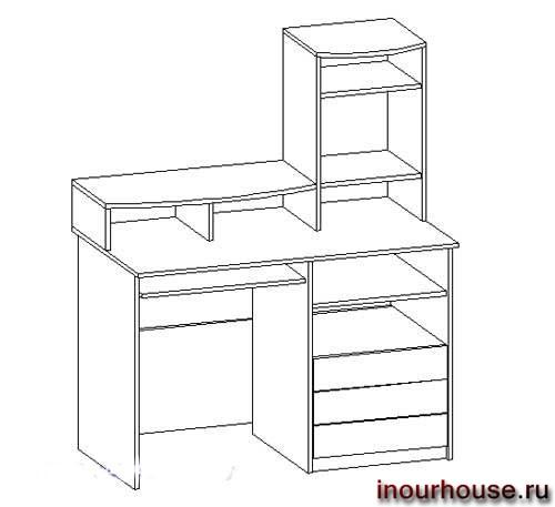 Эскизы компьютерных столов, чертежи компьютерных столов