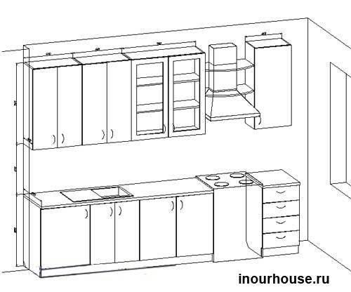 Эскизы кухни, чертежи кухни, наброски кухни, рисунок кухни