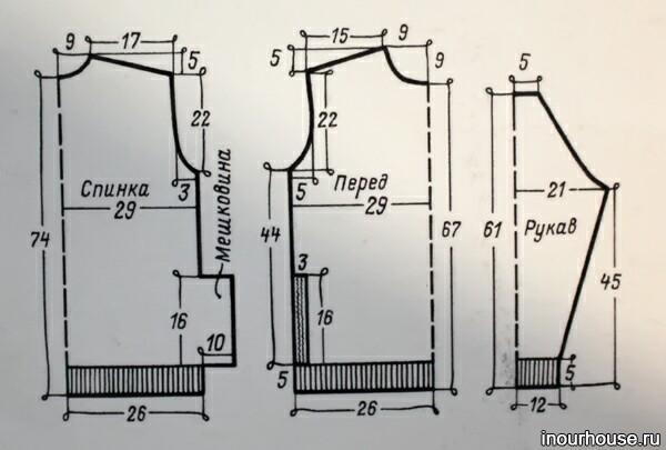 Схема вязания мужского свитера спицами.
