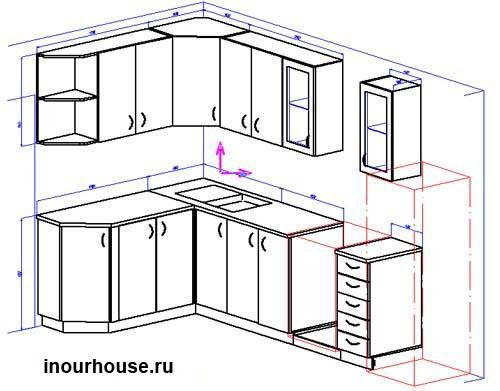Эскизы кухни, угловые кухни,