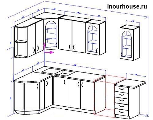 Эскизы кухни, угловые кухни, кухня эскизы, рисунки кухни, чертежи кухни, кухни фото